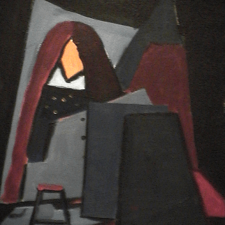 Le petit banc - 1980 Acrylique sur toile 41cm X 51cm Louis Fortier