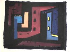 Cabanes rouge et bleu - 1980 Acrylique sur carton 30cm X 22cm Louis Fortier