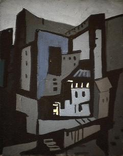 Blocs gris - 1980 Acrylique sur toile 34cm X 51cm Louis Fortier