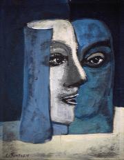 Deux faces - 1984 Acrylique sur masonite 21cm X 26cm Louis Fortier