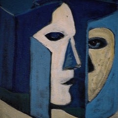 Face cachée - 1984 Acrylique sur masonite 21cm X 26cm Louis Fortier