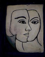 Face à papier - 1984 Acrylique sur masonite 21cm X 26cm Louis Fortier