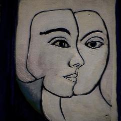Face à papier - 1984 Acrylique sur masonite 21cm X 26cm Louis Fortier PRIX : 125$