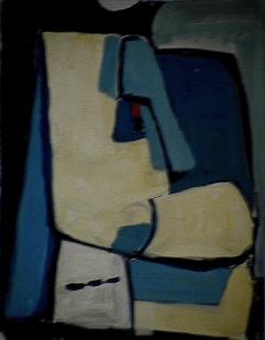 Menton crochu - 1984 Acrylique sur carton 21cm X 26cm Louis Fortier