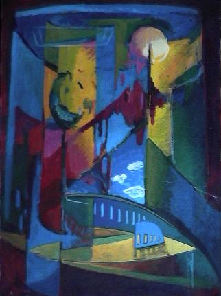 Opéra - 1980 Acrylique sur masonite 84cm X 115cm Louis Fortier