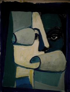 Hubrice - 1984 Acrylique sur carton 21cm X 26cm Louis Fortier