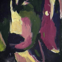 Le masque - 1984 Acrylique sur masonite 21cm X 26cm Louis Fortier