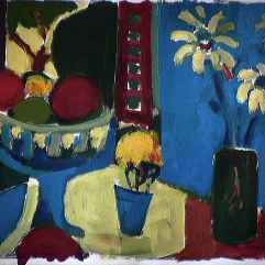 Coupe de fruits - 1984 Gouache sur carton 21cm X 26cm Louis Fortier