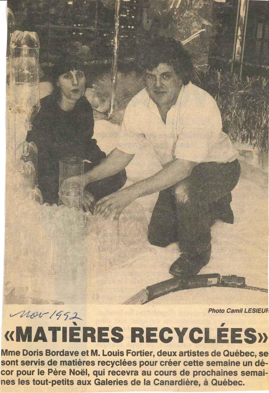 Doris Bordage Louis FortierMatières recyclées Galeries de la Carnardière novembre 1992