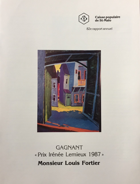 Louis Fortier Gagnant Prix Irénée Lemieux 1987