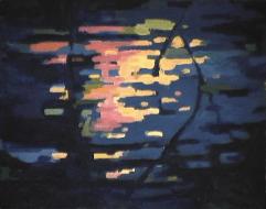 Crépuscule sur le lac - 1982 Acrylique sur masonite 41cm X 51cm Louis Fortier