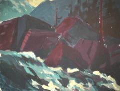 Rapides Saint-Adolphe - 1979 Acrylique sur masonite 51cm X 41cm Louis Fortier