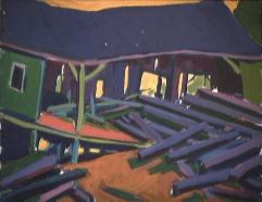 Moulin à bois - 1979 Acrylique sur masonite 51cm X 41cm Louis Fortier