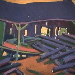Moulin à bois - 1979 Acrylique sur masonite 51cm X 41cm Louis Fortier PRIX : 300$