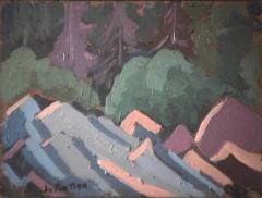 Forêt - 1979 Acrylique sur masonite 31cm X 23cm Louis Fortier