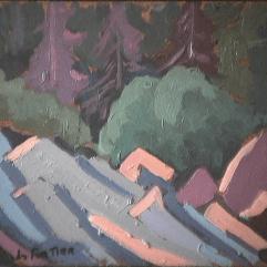 Forêt - 1979 Acrylique sur masonite 31cm X 23cm Louis Fortier PRIX : 75$