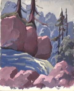 Trois rochers - 1979 Gouache sur carton 29cm X 36cm Louis Fortier