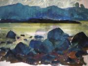 Marée basse - 1979 Gouache sur carton 50cm X 35cm Louis Fortier