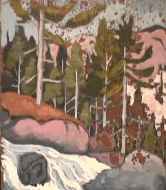 Rapides - 1979 Acrylique sur masonite 41cm X 51cm Louis Fortier