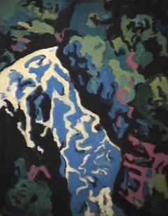 Chute Jean-Larose - 1985 Acrylique sur masonite 51cm X 41cm Louis Fortier