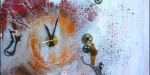 Art -singulier (Horloge fonctionnelle ) Technique mixte / acrylique, mécanisme et collage . Dimension 60/60 cm