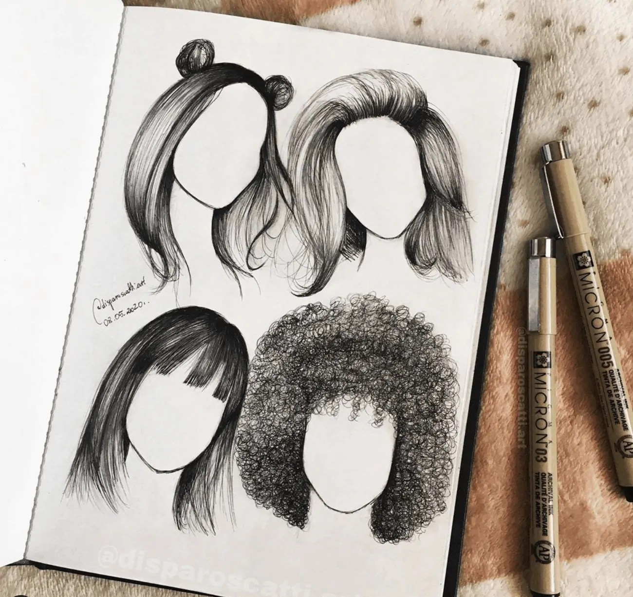 hair drawing ideas