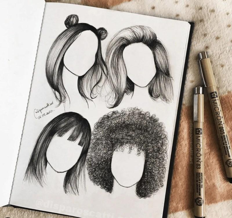 hair drawing ideas