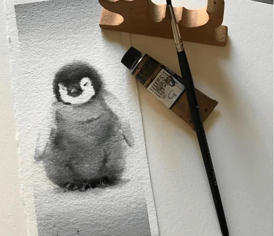 penguin watercolor painting