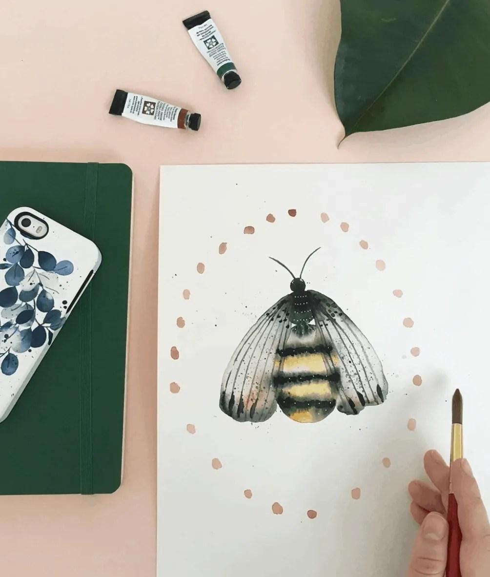 bee watercolor art