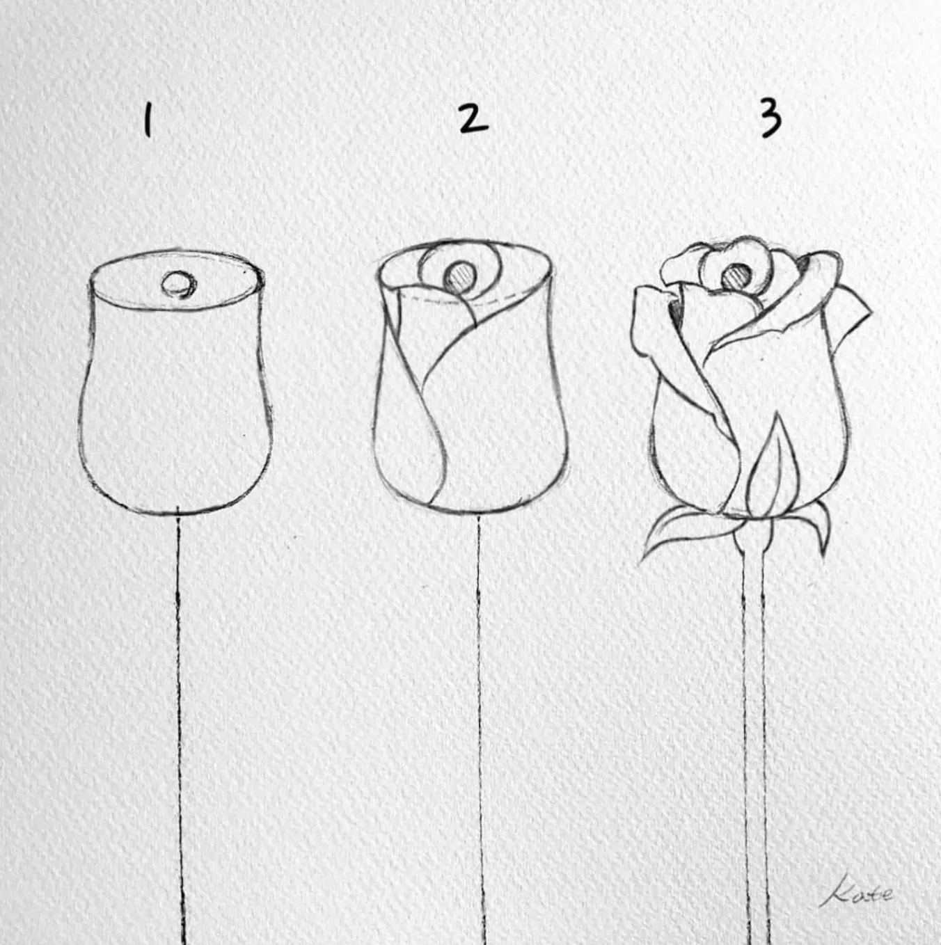 how to draw a rose bud