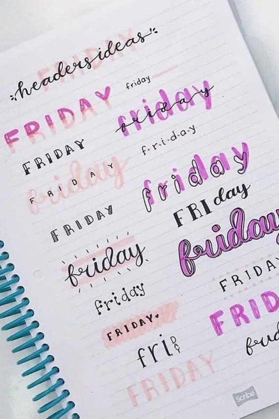 Friday header ideas for bullet journal