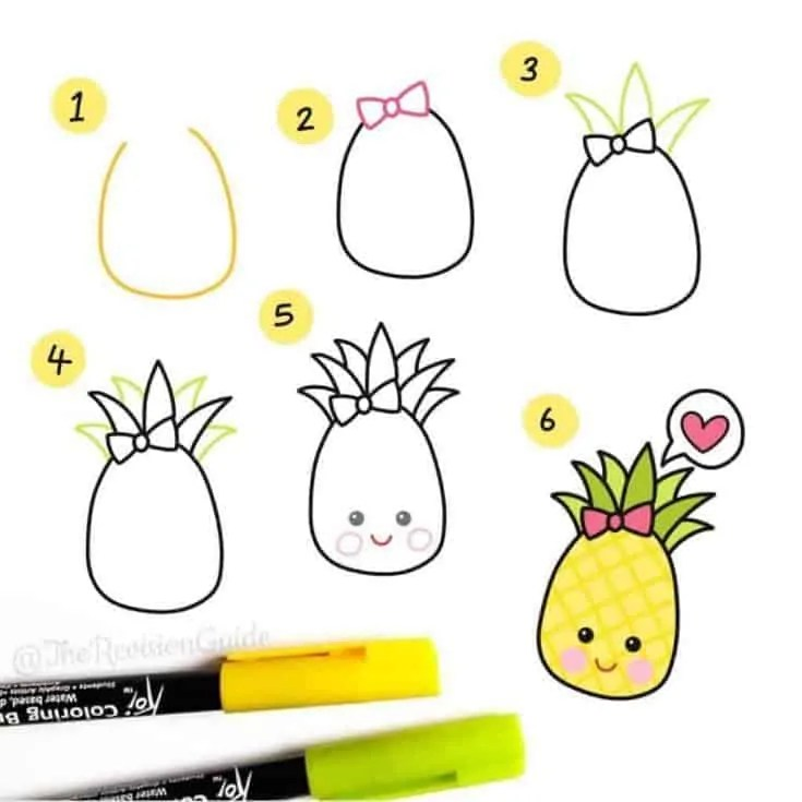 How to draw a pineapple?