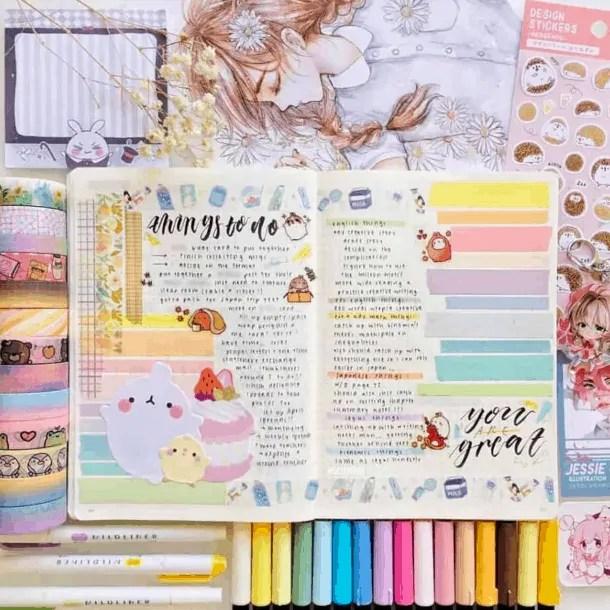 40 Creative Bullet Journal Washi Tape Ideas 51
