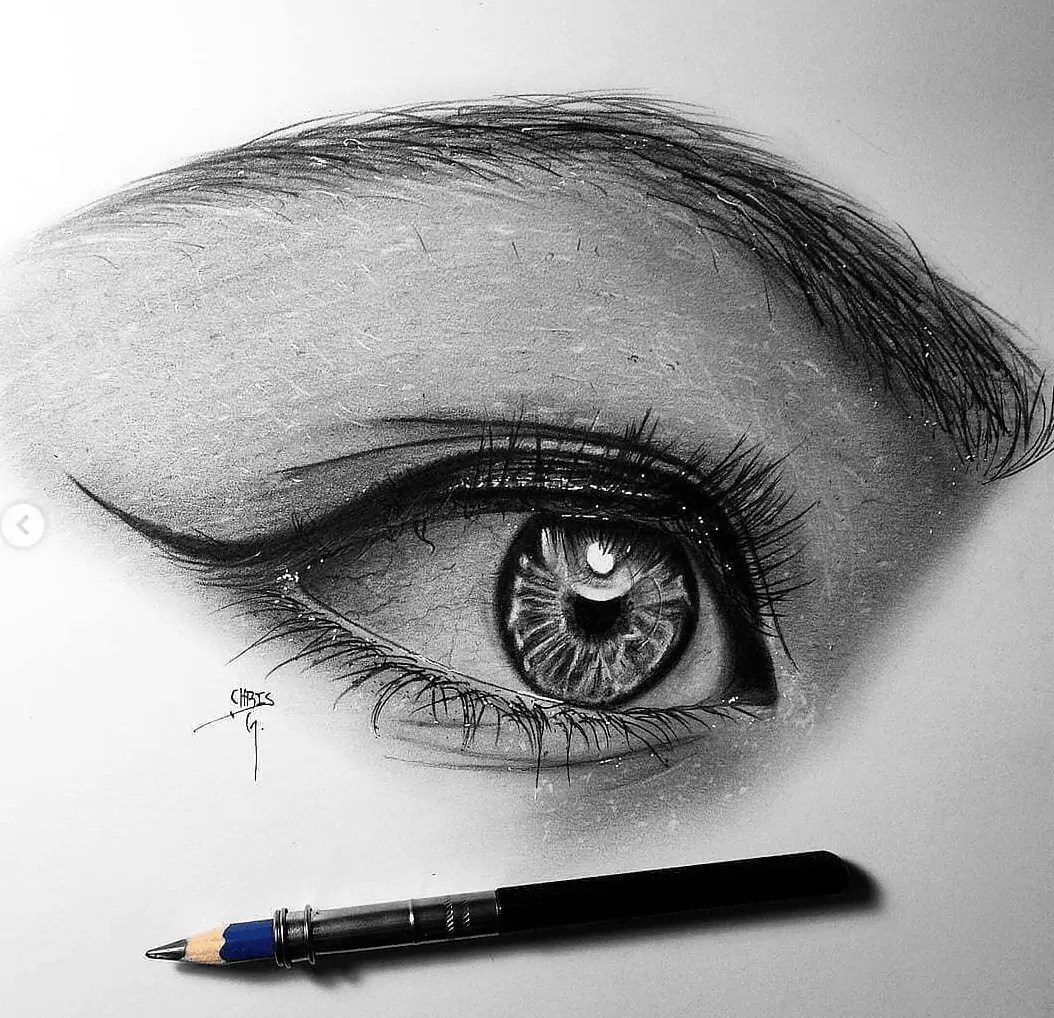 realistic eye pencil drawing