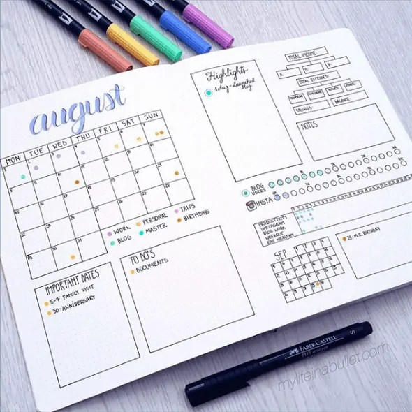 30 Creative Bullet Journal Monthly Spread Ideas 35
