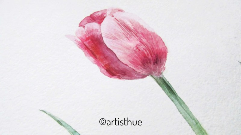 How to paint tulips in watercolor? 17