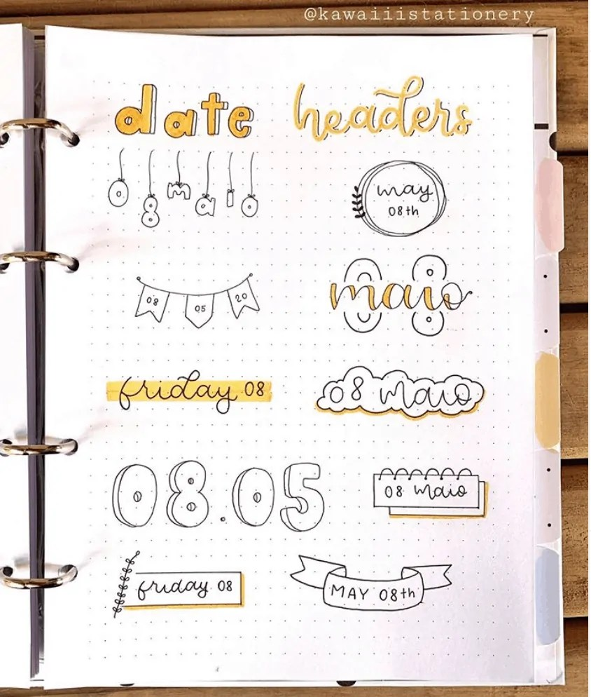 date header ideas