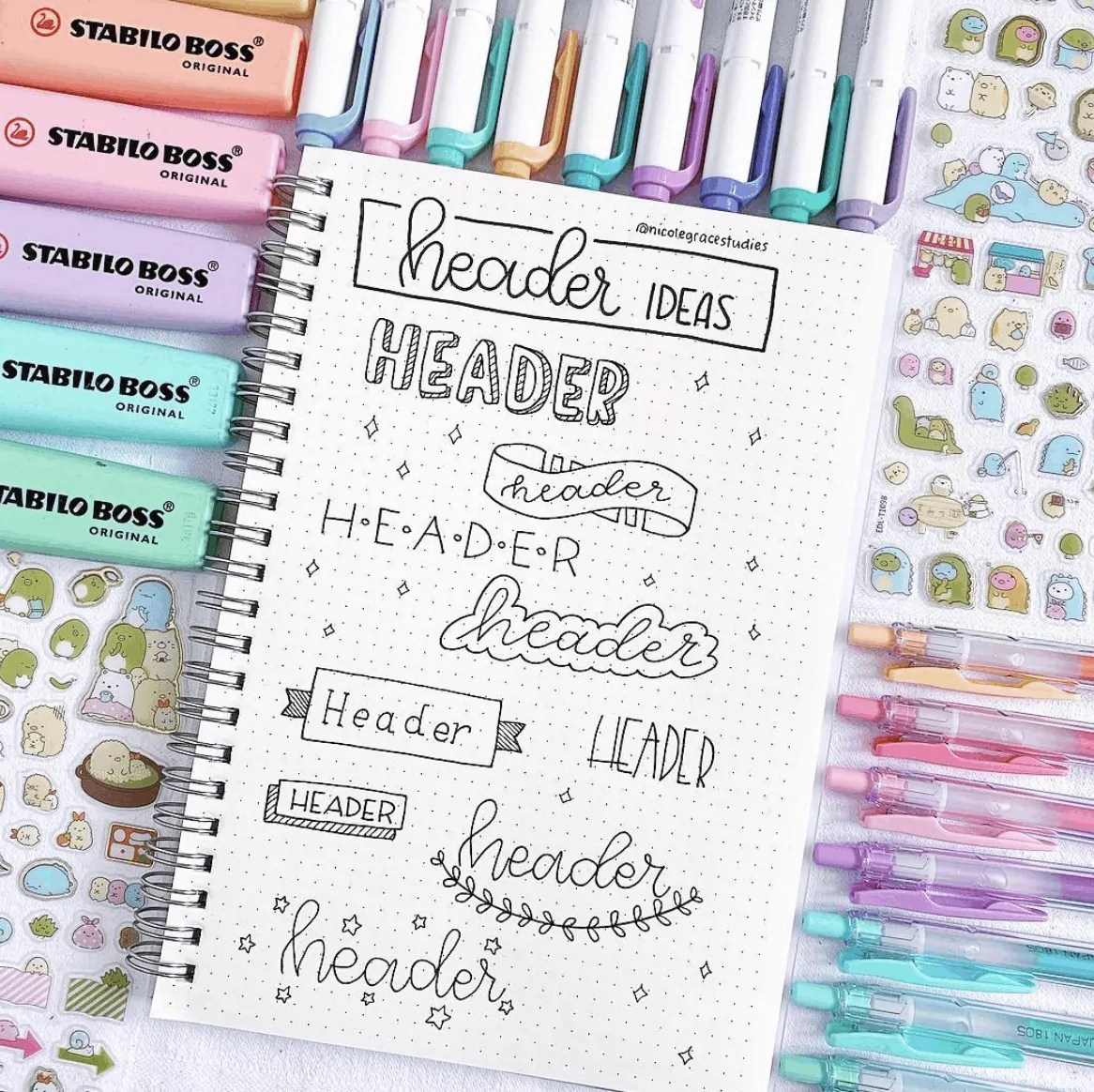 header ideas for bujo