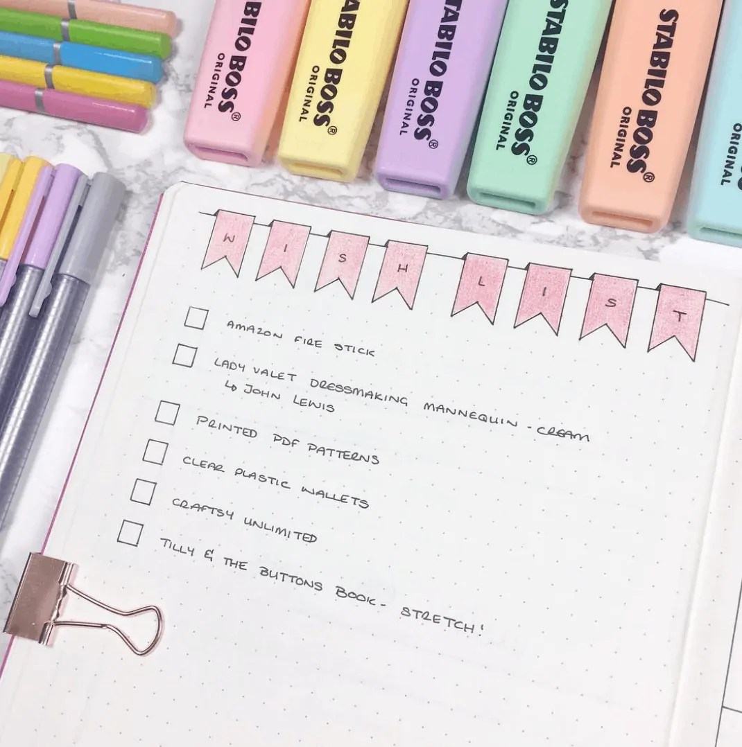 Wishlist bullet journal