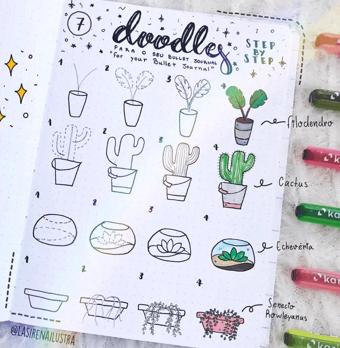 Cactus and Succulent Doodle Ideas for Bullet Journal 12