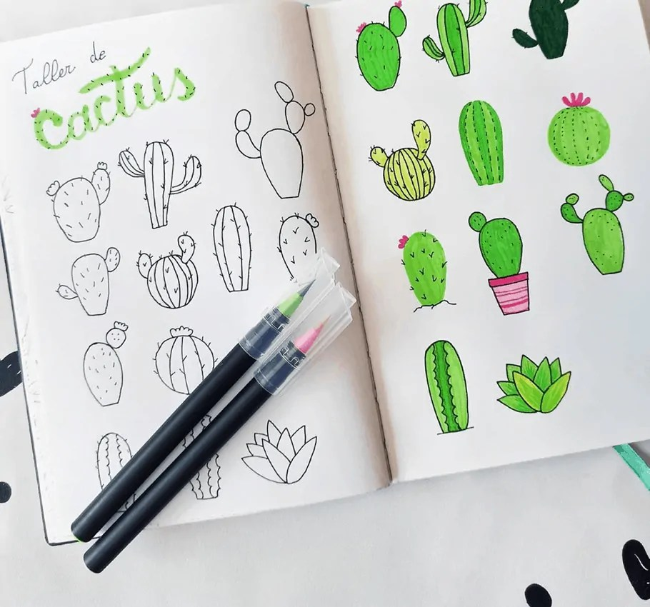 Cactus and Succulent Doodle Ideas for Bullet Journal 16