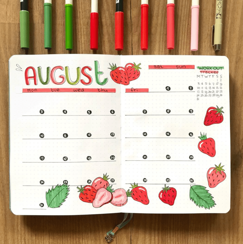 Bullet Journal Monthly Cover Spread