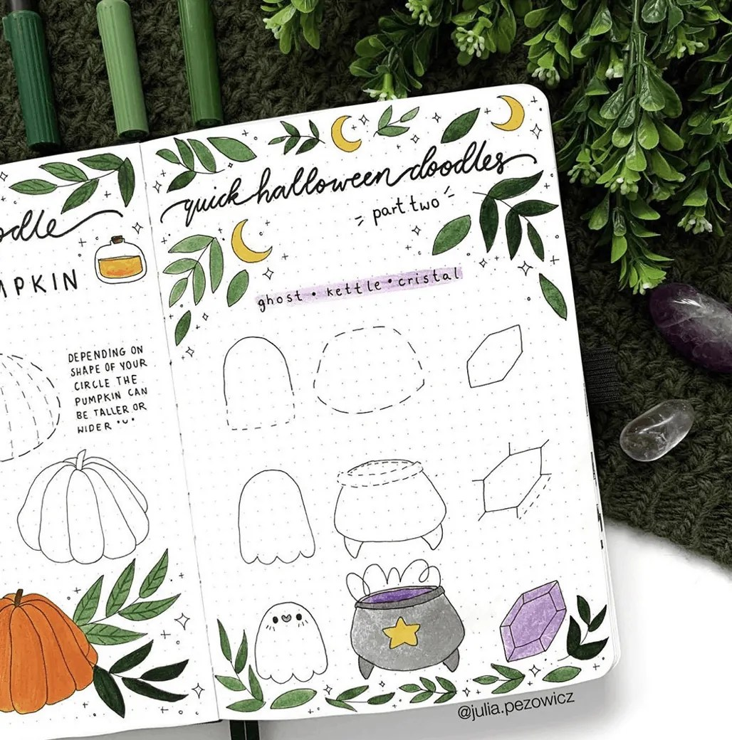 100 Bullet Journal Fall Doodles Halloween Ideas 9