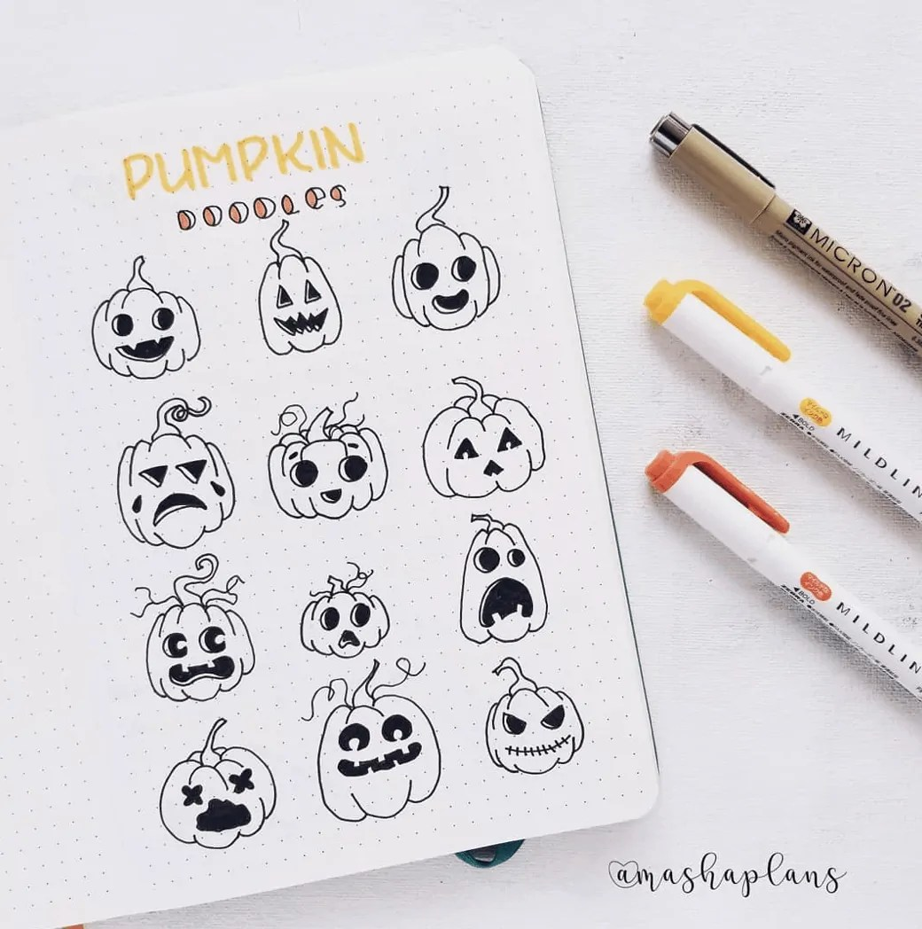 100 Bullet Journal Fall Doodles Halloween Ideas 19