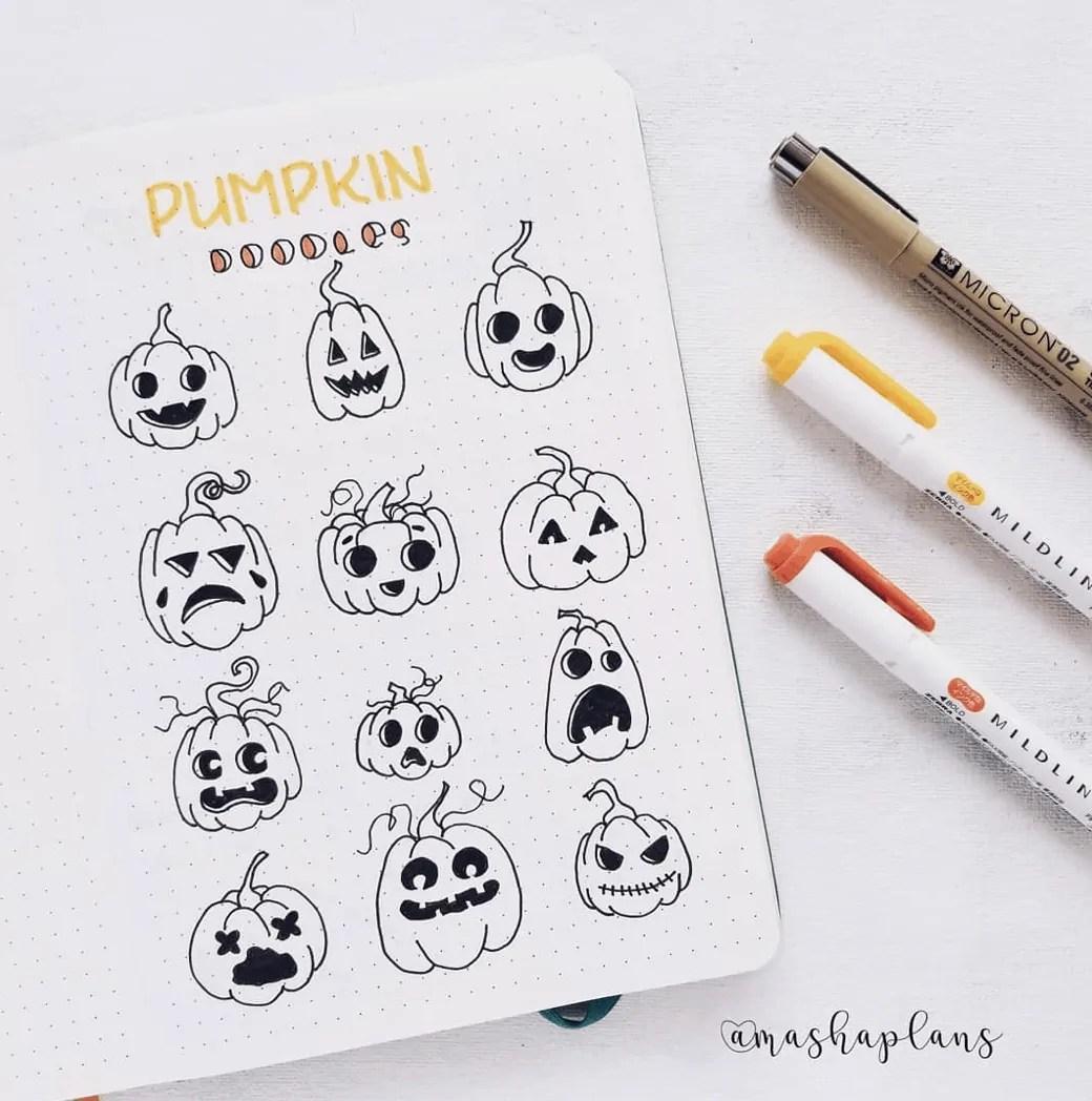 100 Bullet Journal Fall Doodles Halloween Ideas 19
