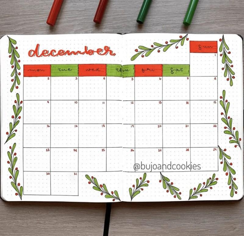 December Bullet Journal Calendar:
