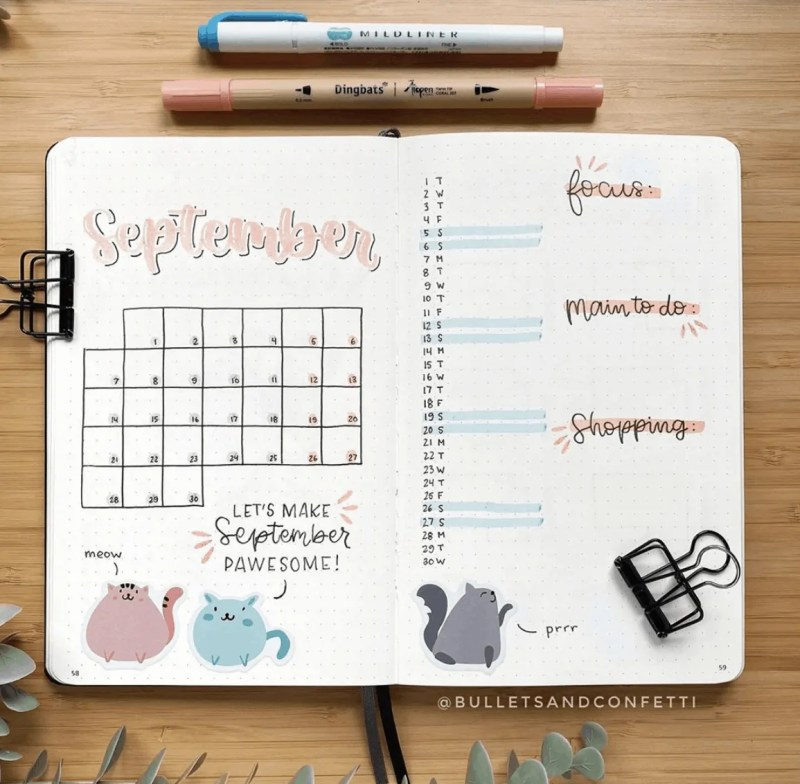 September Bullet Journal Calendar