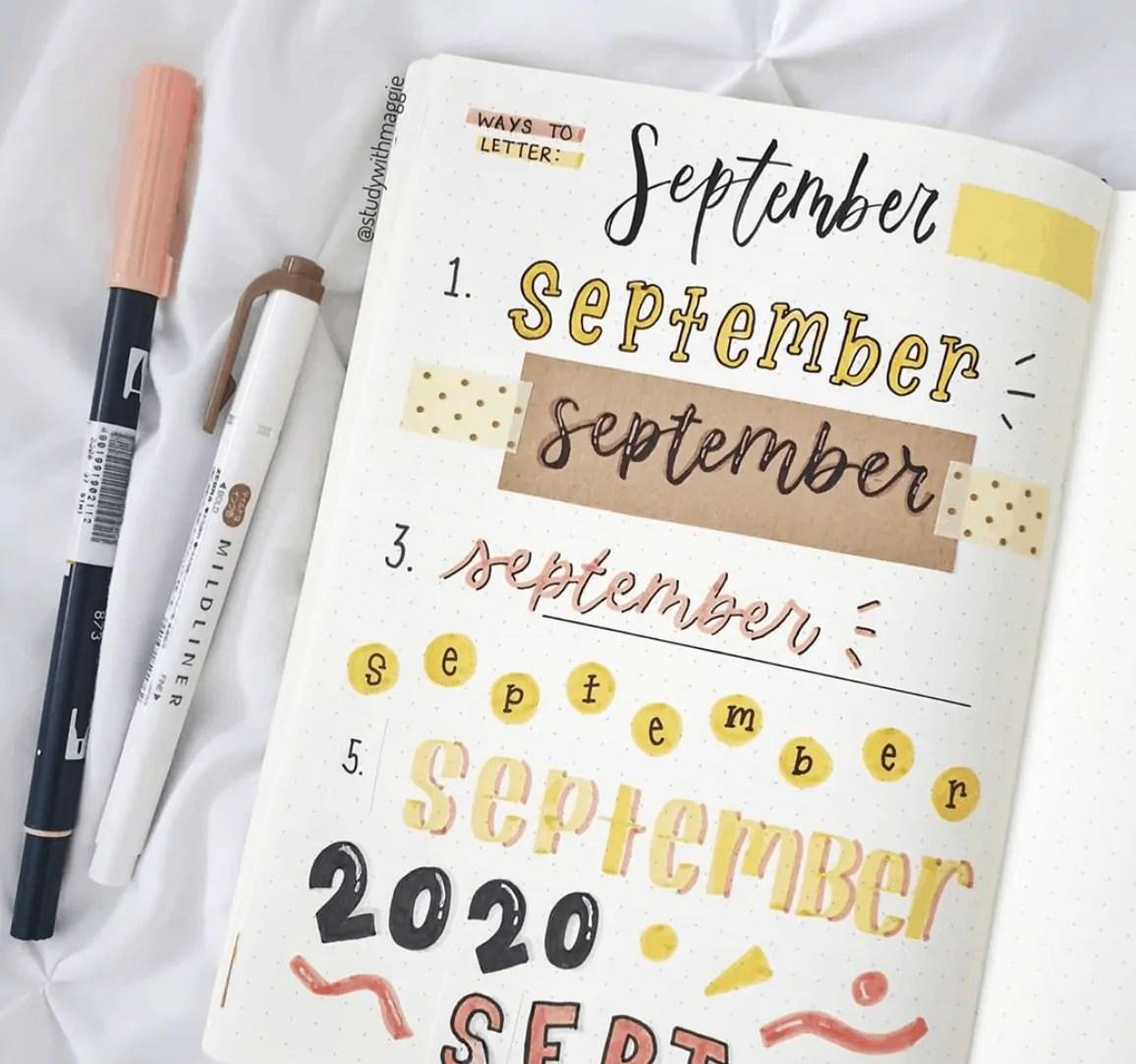September Bullet Journal Font Ideas