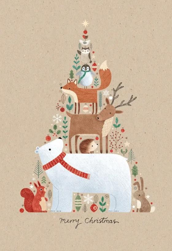 Animals-in-a-tree-shape-Christmas-Card-Greetings-Island 5