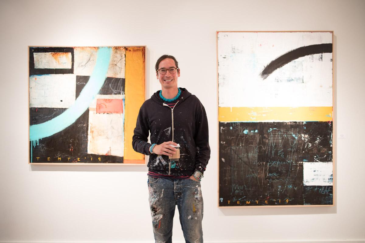 Artist James Temte at Cyrano's Theatre Company in Anchorage, Alaska, for his art show